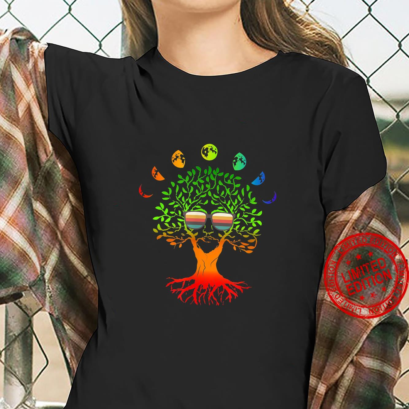 Funny tree of life with retro sunglass and moon phases yoga Shirt ladies tee