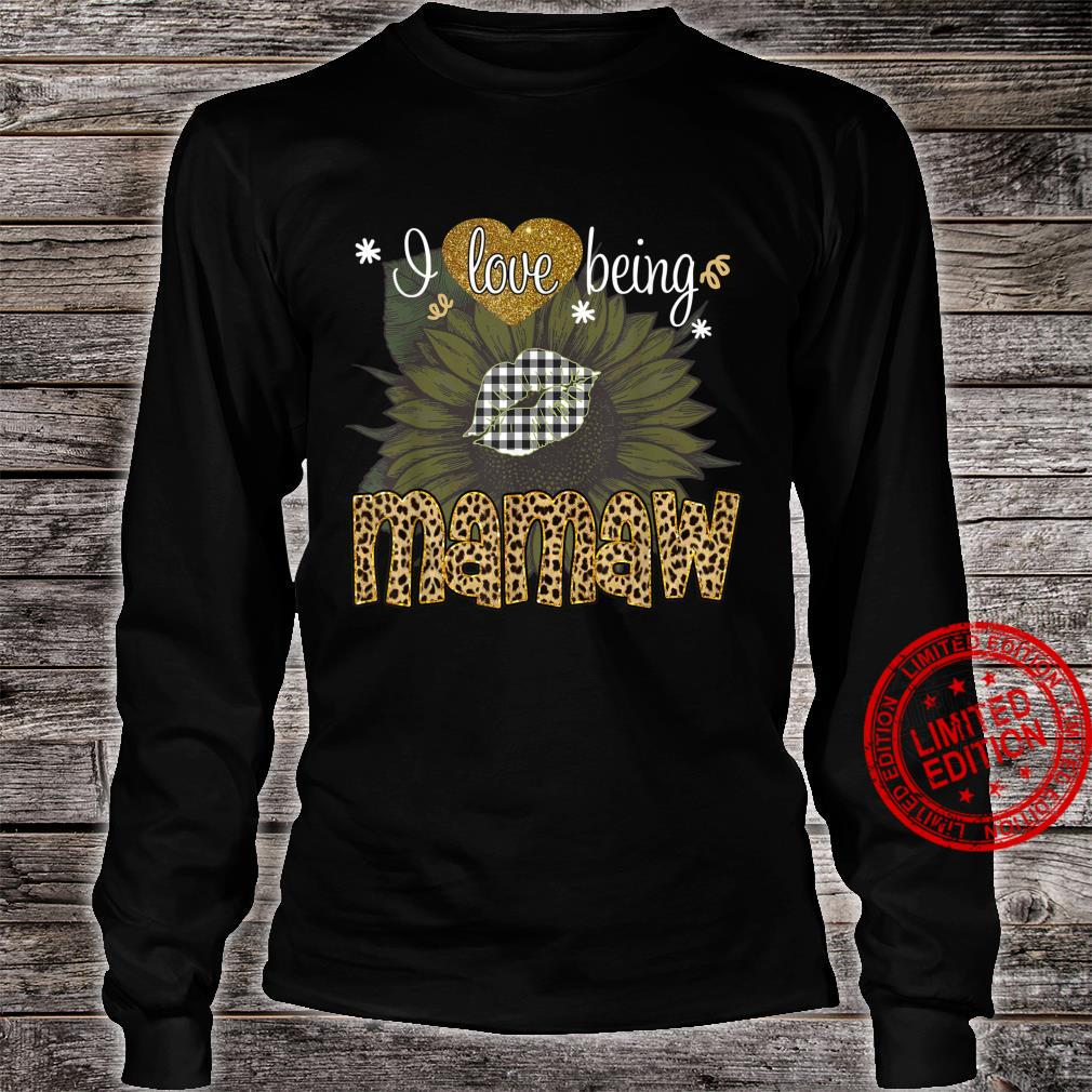 I Love Being Mamaw Sunflower Leopard Mothers Day Shirt long sleeved
