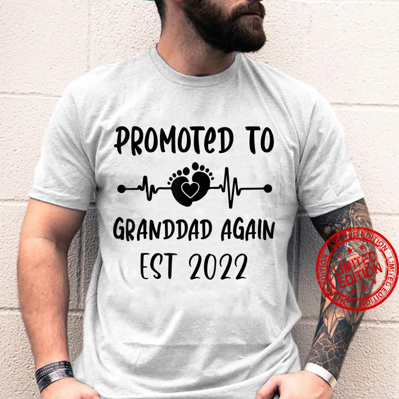 Promoted To Granddad Again Est 2021 Heartbeat Shirt