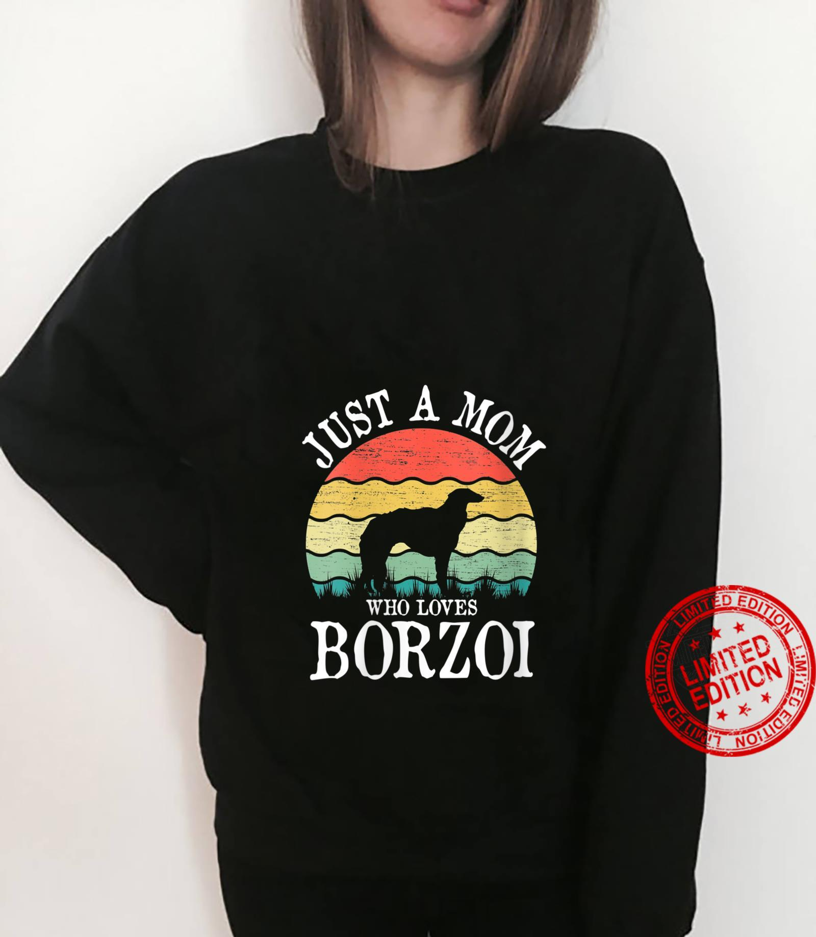 Womens Just A Mom Who Loves Borzoi Dog Mom Shirt sweater