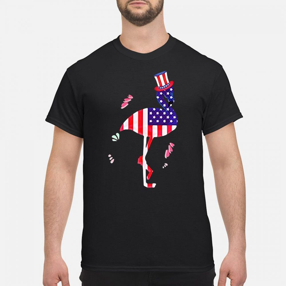 4th of July Shirts for Men Funny Flamingo Uncle Sam Hat Tee Premium shirt