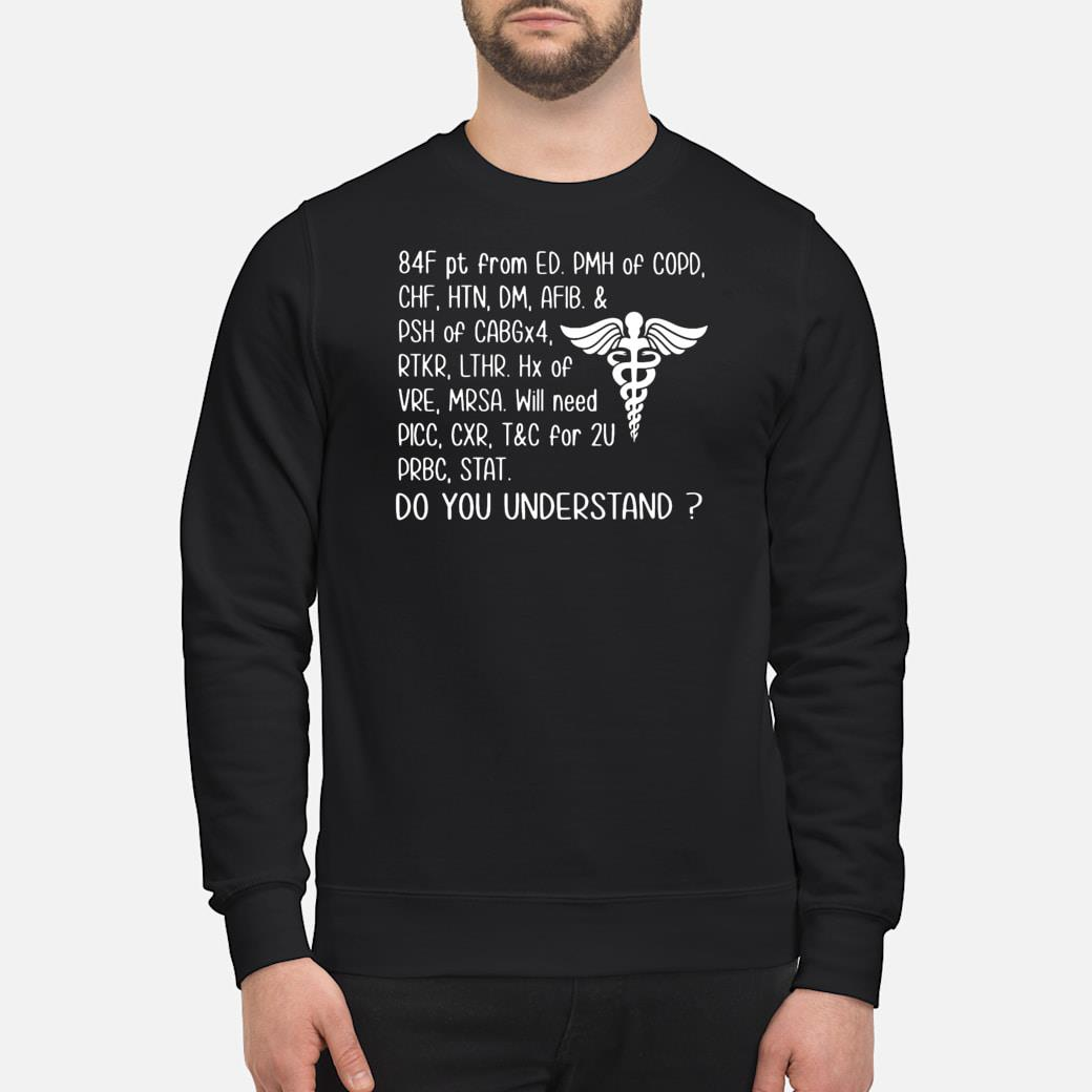 84F pt from ED PMH of COPD CHF HTN DM AFIB & PSH of CABGx4 do you understand shirt sweater