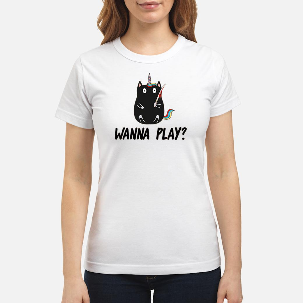 Black cat unicorn wanna play shirt ladies tee