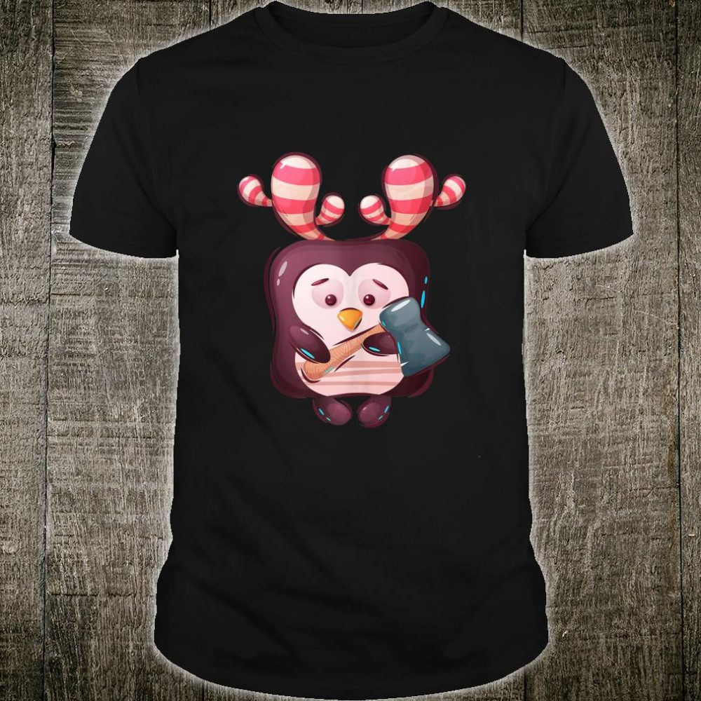 Cute Penguin With Axe Illustration Shirt