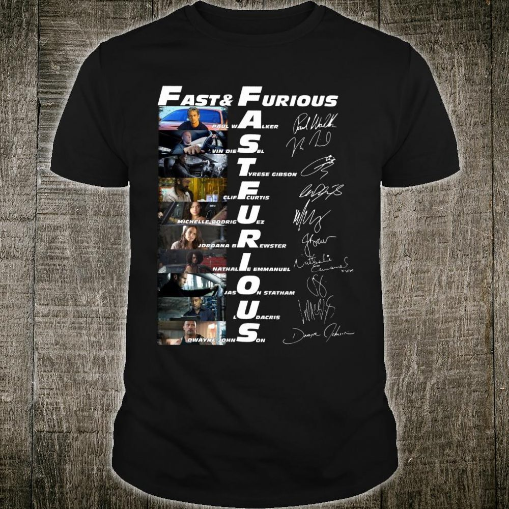 Fast & Furious and characters signatures shirt