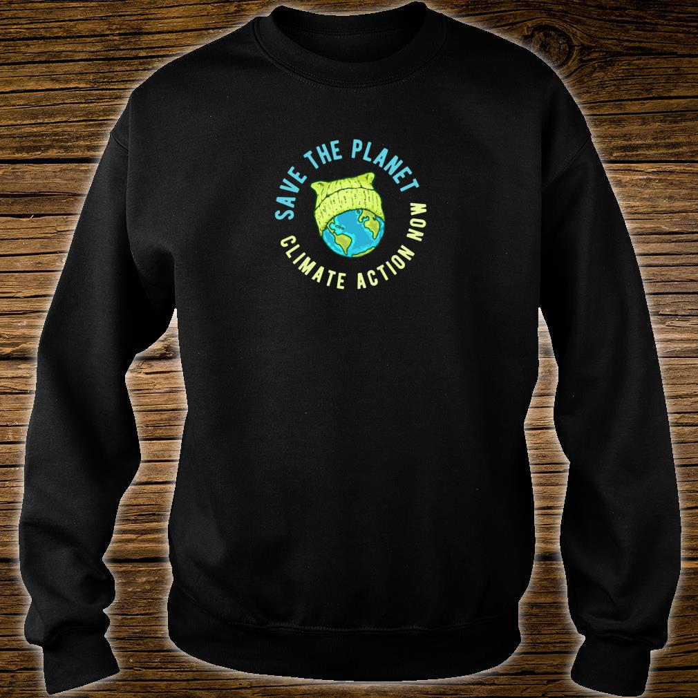 Green Cat Hat Earth Save the Planet Climate Action Now Shirt sweater