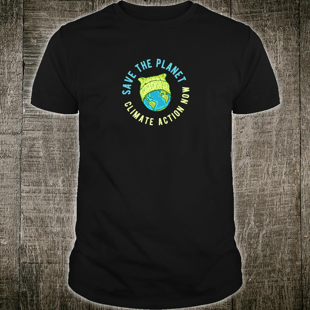 Green Cat Hat Earth Save the Planet Climate Action Now Shirt