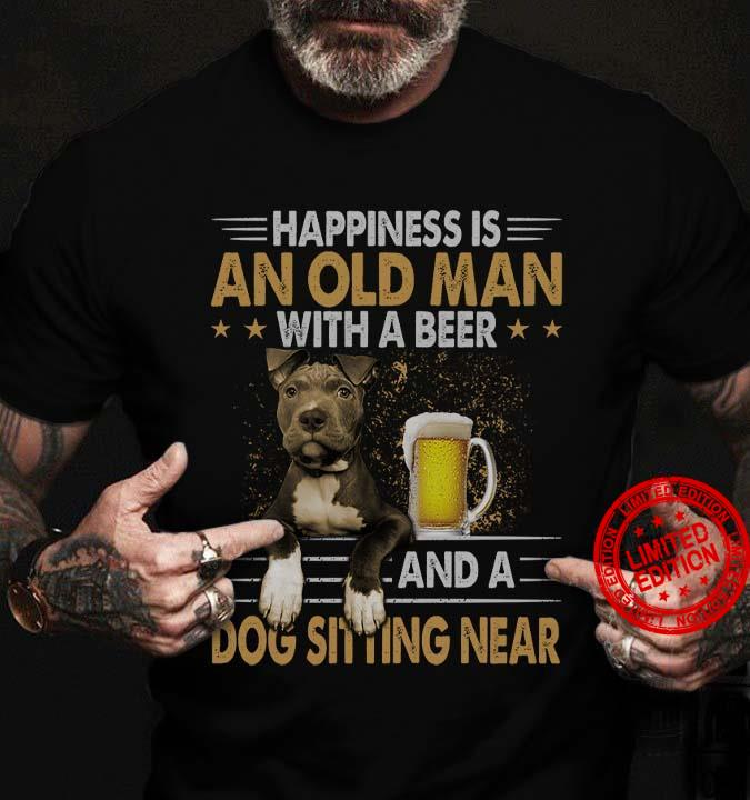 Happiness Is An Old Man And A Dog Sitting Near Shirt