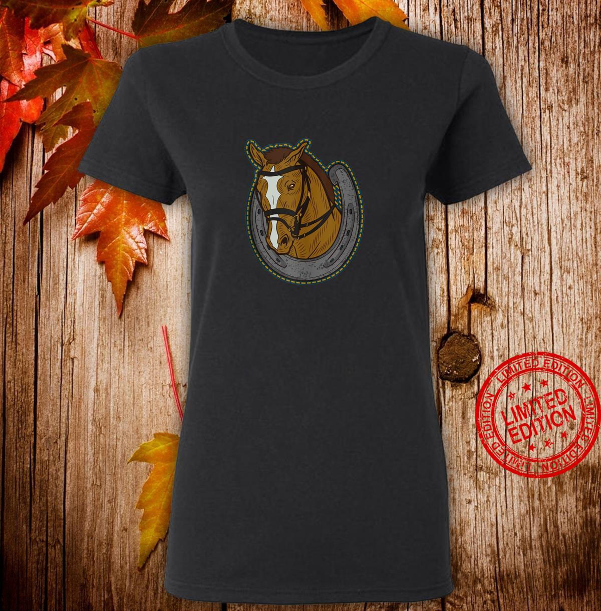 Horse head coming out of an horseshoe Shirt ladies tee