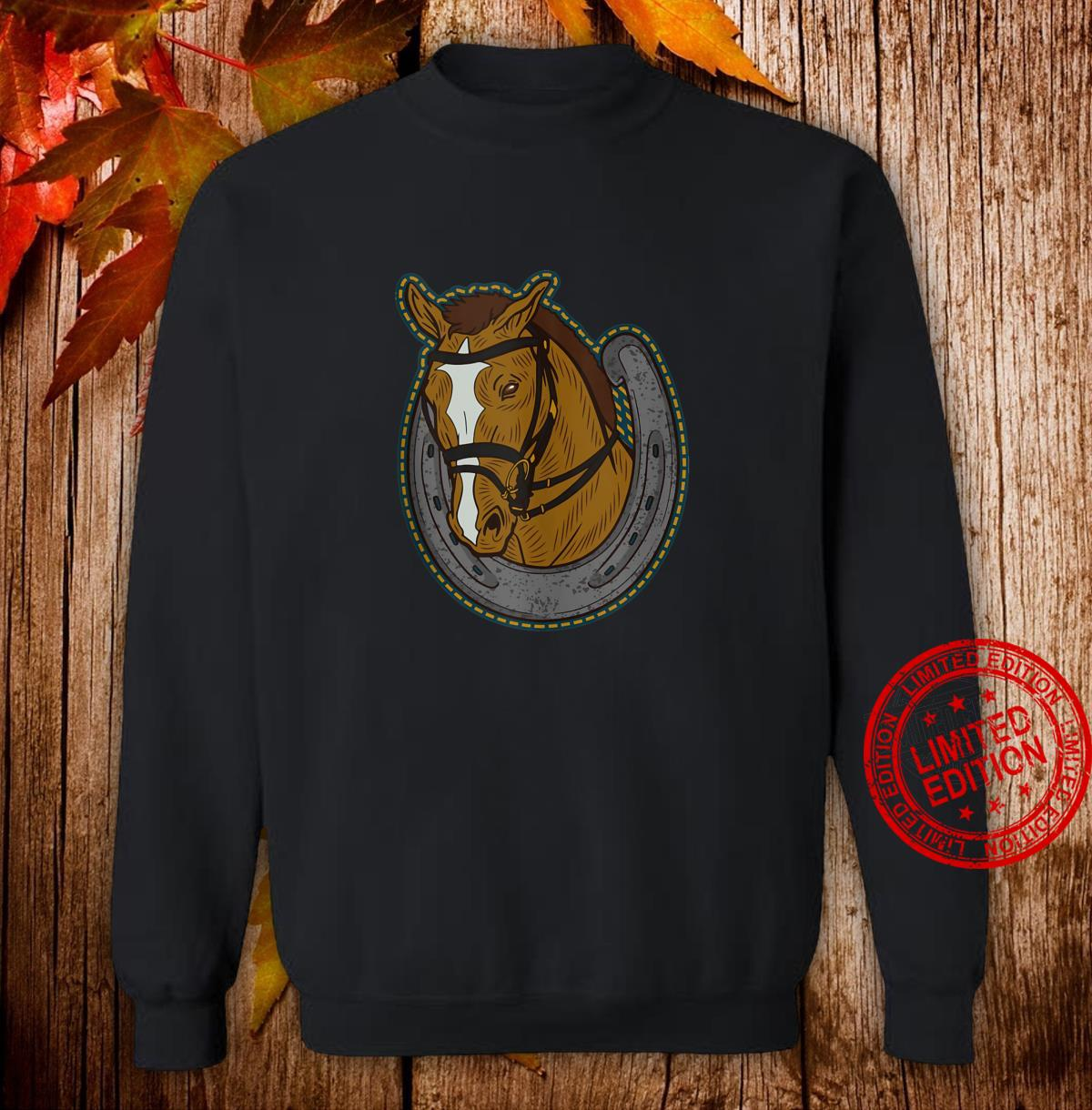 Horse head coming out of an horseshoe Shirt sweater