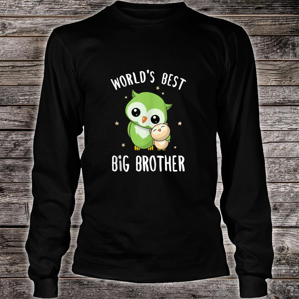 Mens World's Best Big Brother Cute Owl Owls Siblings Family Shirt long sleeved
