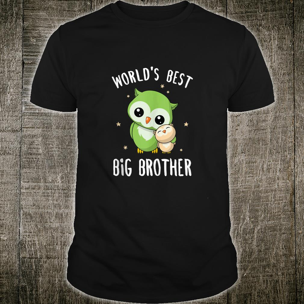 Mens World's Best Big Brother Cute Owl Owls Siblings Family Shirt