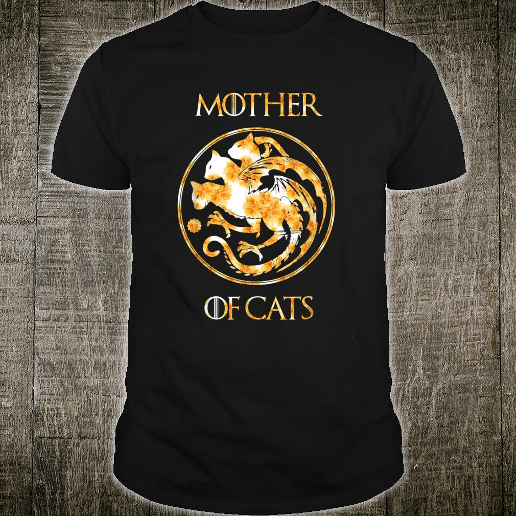Mother of Cats Shirt With Floral Art Best Mom Shirt