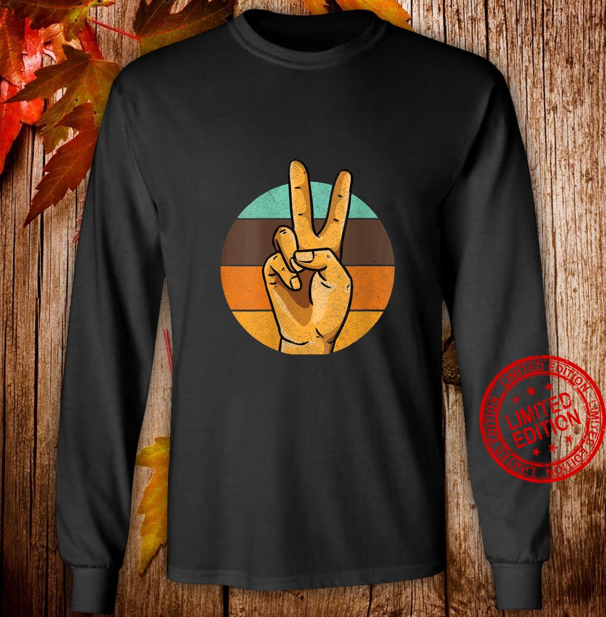 Womens Retro Peace Vintage Shirt 60's 70's Hippie Shirt long sleeved